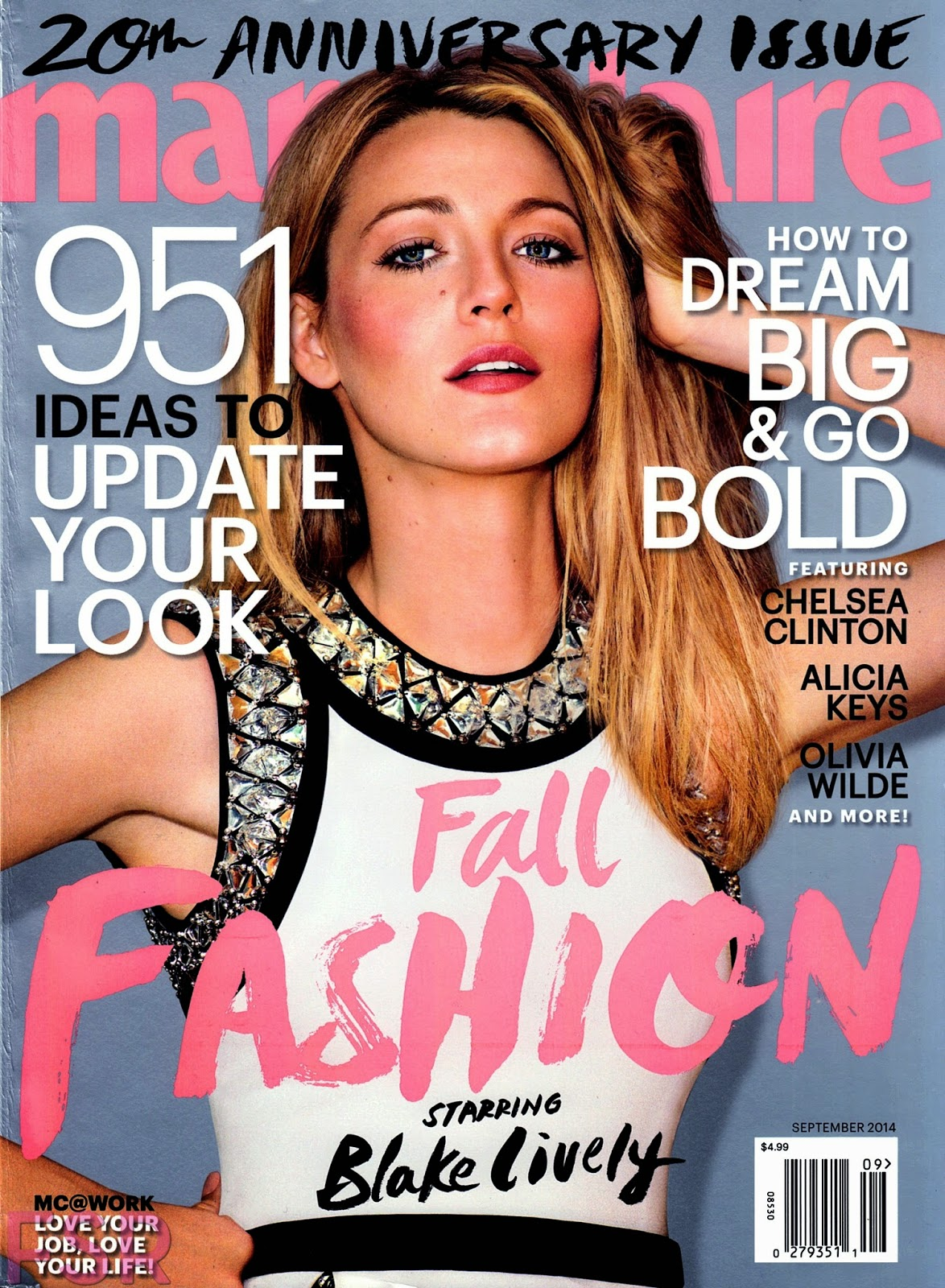 Blake Lively covers Marie Claire US September 2014 20th Anniversary issue in Gucci