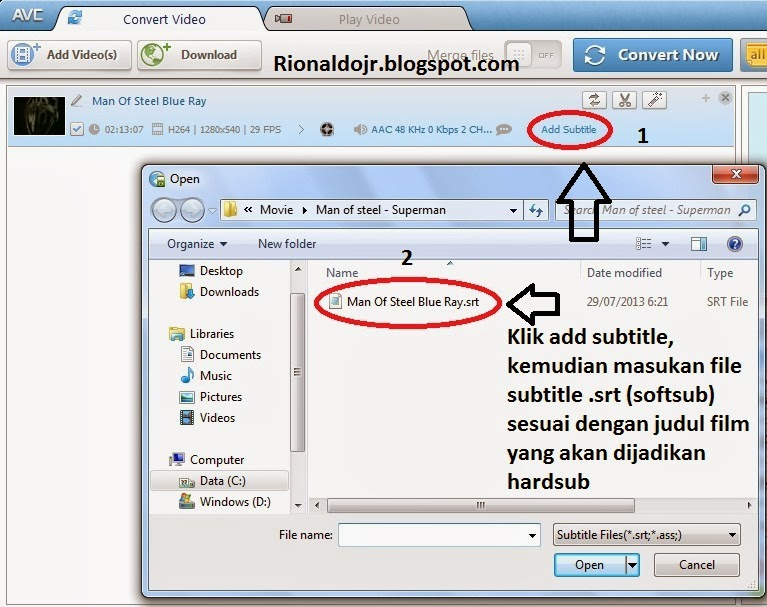 how to add a subtitle file to a movie permanently