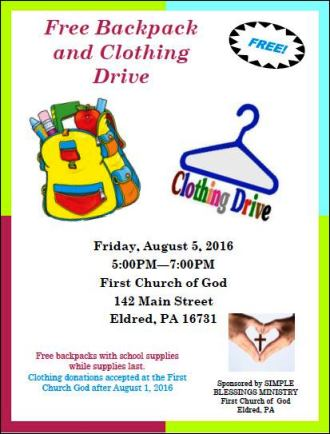 8-5 Free Backpack & Clothing Drive
