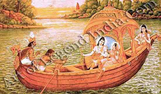 The trios reach Sage Bharadwaj's Ashram at Prayag (present day Allahabad) at the confluence of the Ganga and Yamuna and spend the night there. Sage Bharadwaj suggests they go to Chitrakuta hills. The next day, Rama and others cross Yamuna river and the Kalindi and reach Chitrakuta
