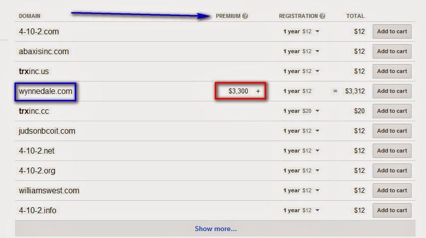 מחיר פרימיום לאתרים בממשק רישום הדומיינים של גוגל