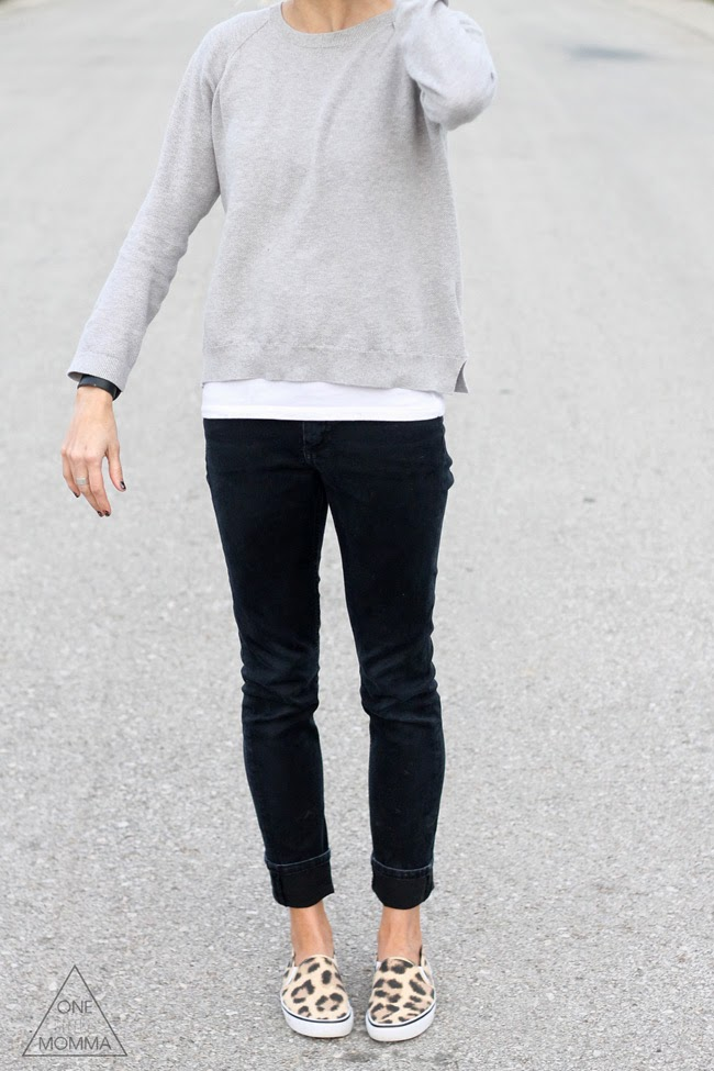 gray tee, black denim and leopard sneakers