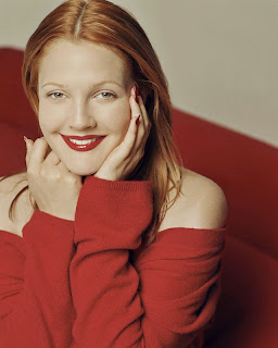 Drew Barrymore in red
