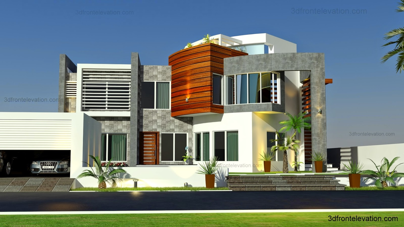 3d front oman modern contemporary villa 3d front elevation 2015. Black Bedroom Furniture Sets. Home Design Ideas