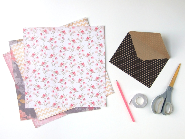 Things you'll need to make your own Simple Diy Scrapbook Paper Envelopes