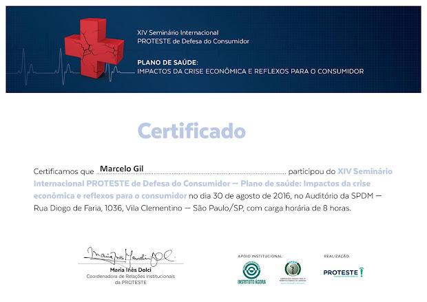 CERTIFICADO DE PARTICIPAÇÃO EM SEMINÁRIO DA ASSOCIAÇÃO BRASILEIRA DE DEFESA DO CONSUMIDOR / 2016