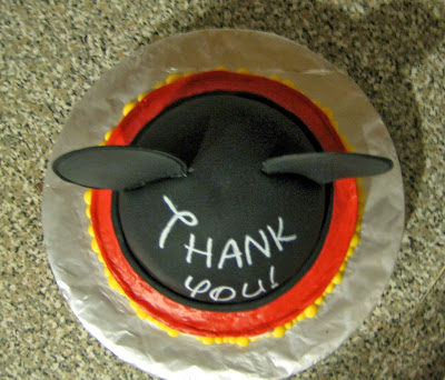 Mickey Mouse Ears Teacher Appreciation Cake - Overhead View
