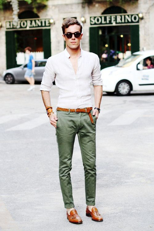 Green Pants White Shirt Combination For Men Men S Clothing Colour
