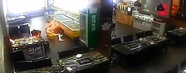 Watch chinese girl catches fire in restaurant as waitress fuels the hot pot stove via geniushowto.blogspot.com girl shown lying on the ground desperately trying to put off the fire as she suffers second degree burns