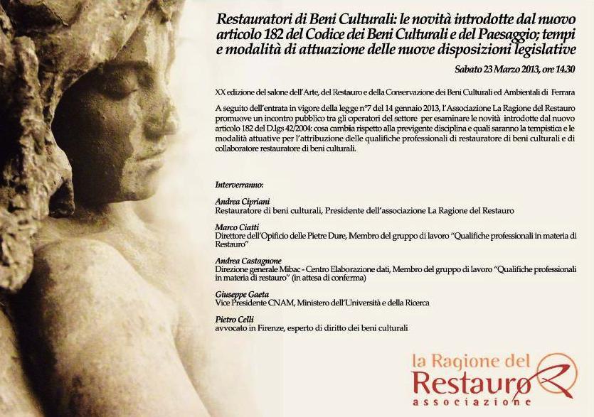 Sabato 23 Marzo 2013 ore 14:30 - Sala Marfisa, XX Salone del Restauro di Ferrara