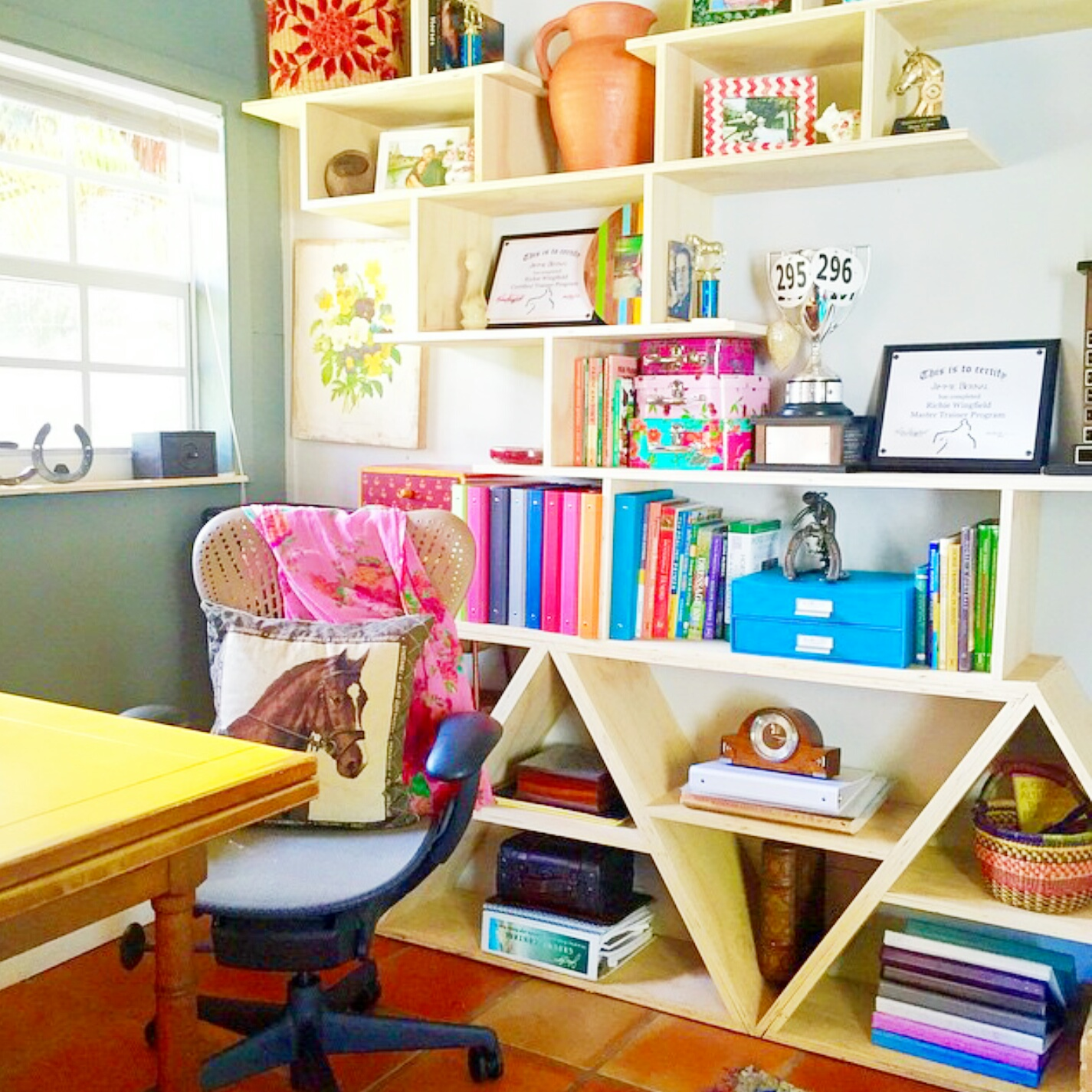 Geometric Barn Office Shelving // Painted Sofa // Custom Artwork