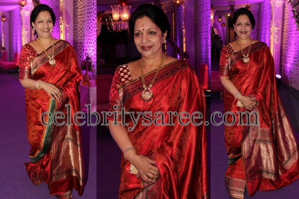 Indira Maroon Red Silk Saree