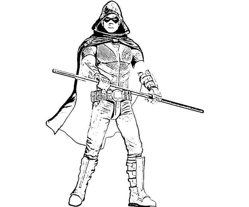 Printable Batman Arkham City Robin Weapon Coloring Pages title=