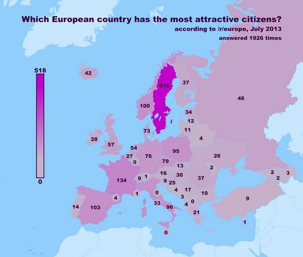 Map Of Most Attractive Citizens in Europe
