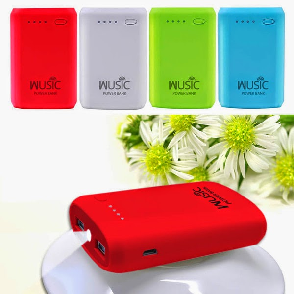 WUSIC Portable Power Bank Charger with Dual USB and LED Light