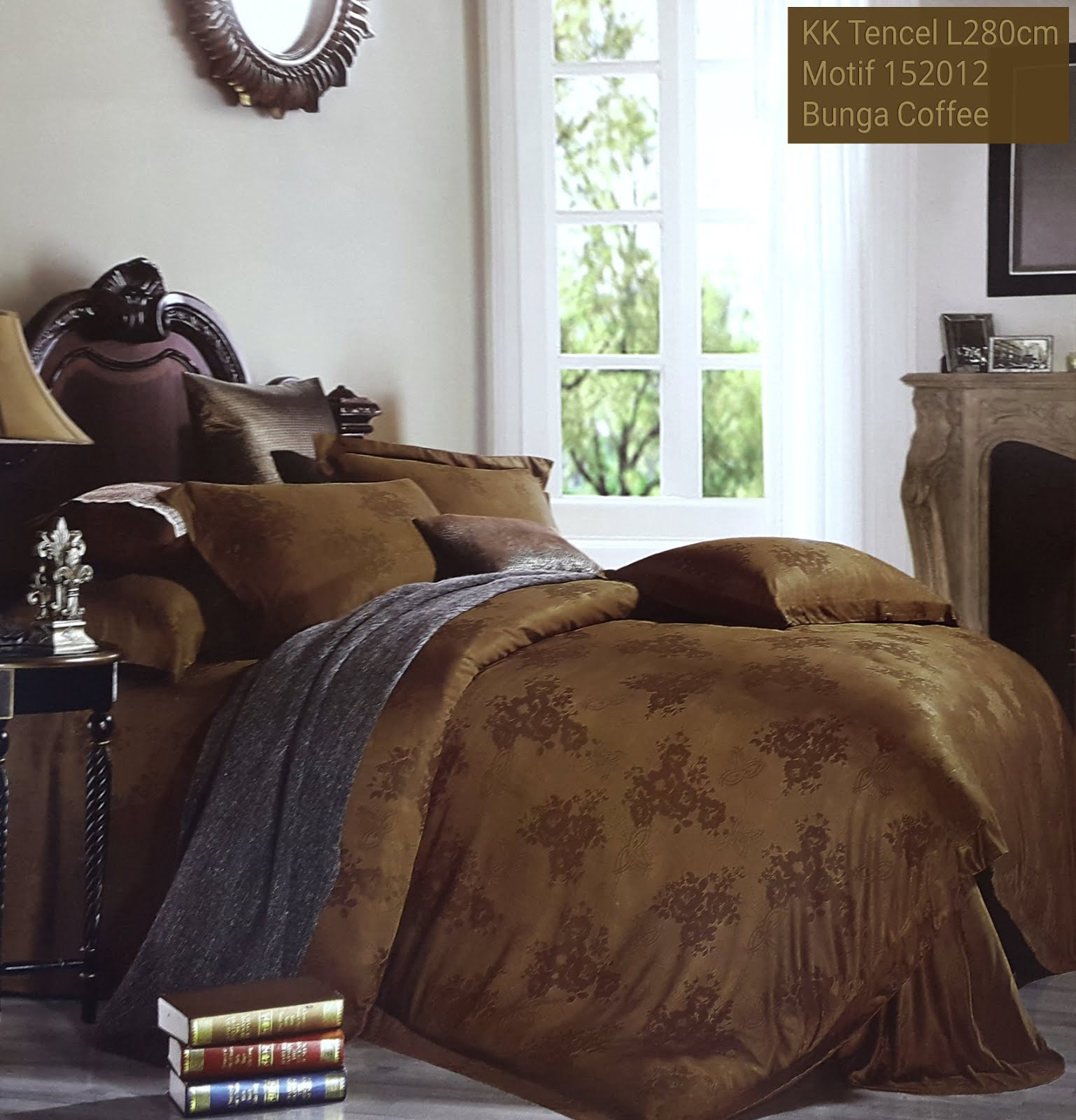 Sprei Kingkoil Motif Bunga Coffee