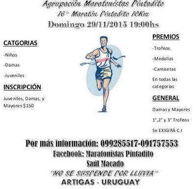 10k Maratón Pintadito (Artigas, 29/nov/2015)