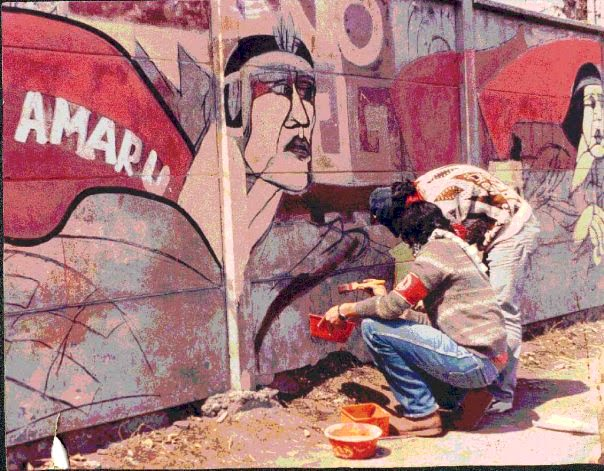 TUPAC AMARU Mural Panamericana santiago de Chile*