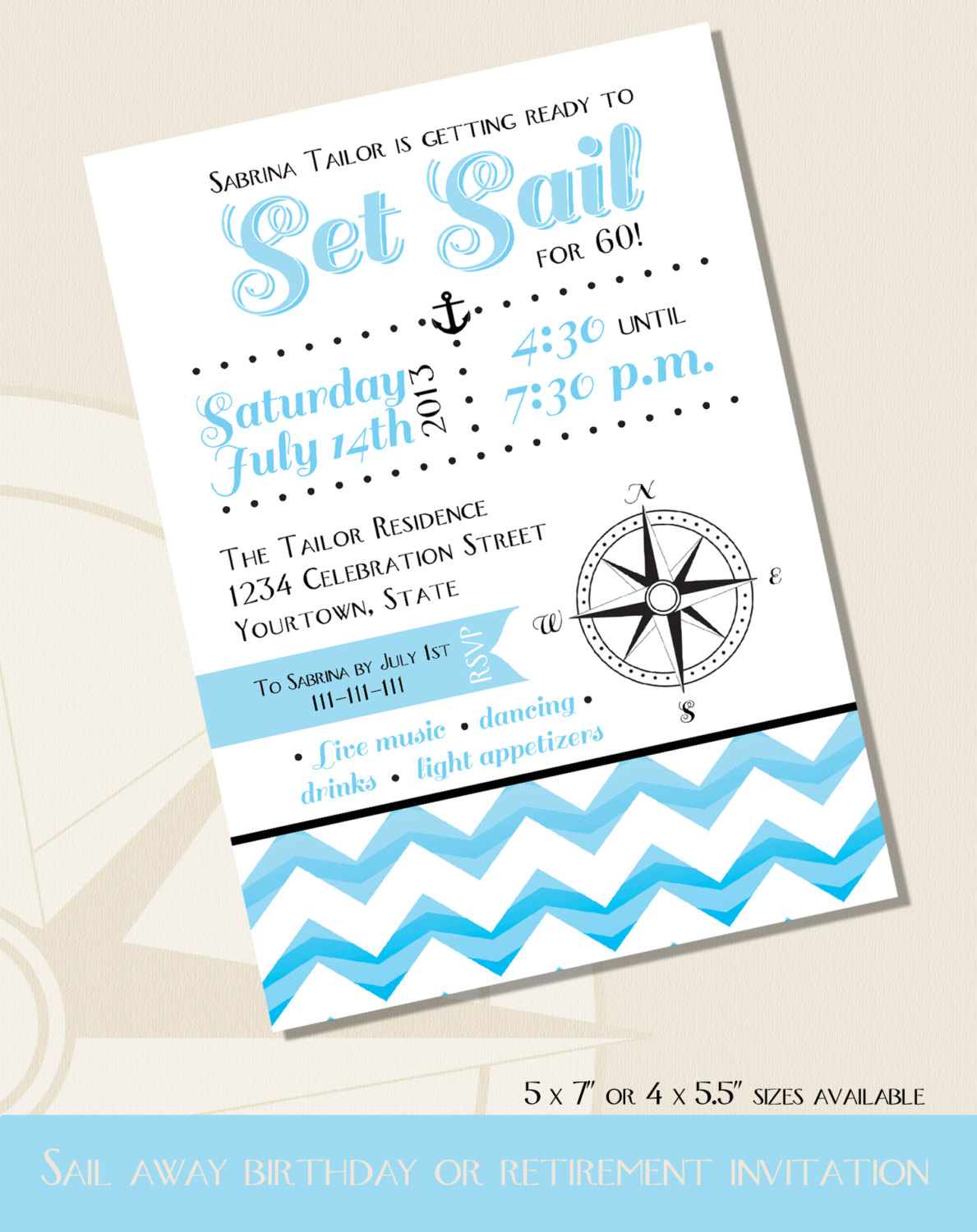 Nautical 60th birthday invitation