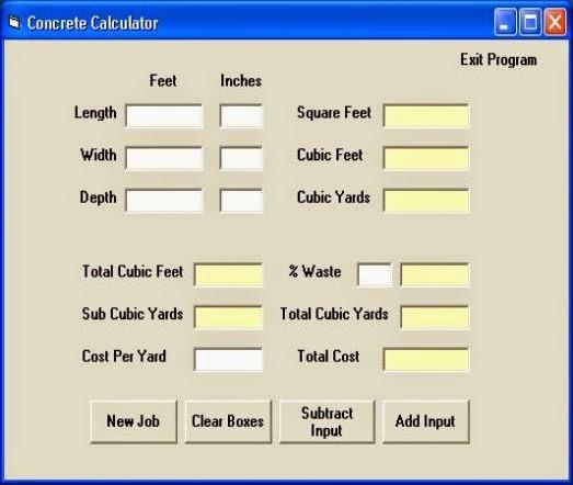 Concrete Slab Calculator : Concrete calculator online civil