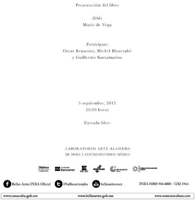 """Presentación del libro """"Atrás"""" de Mario de Vega en el Laboratorio Arte Alameda"""