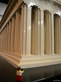 little traveller visits the lego parthenon