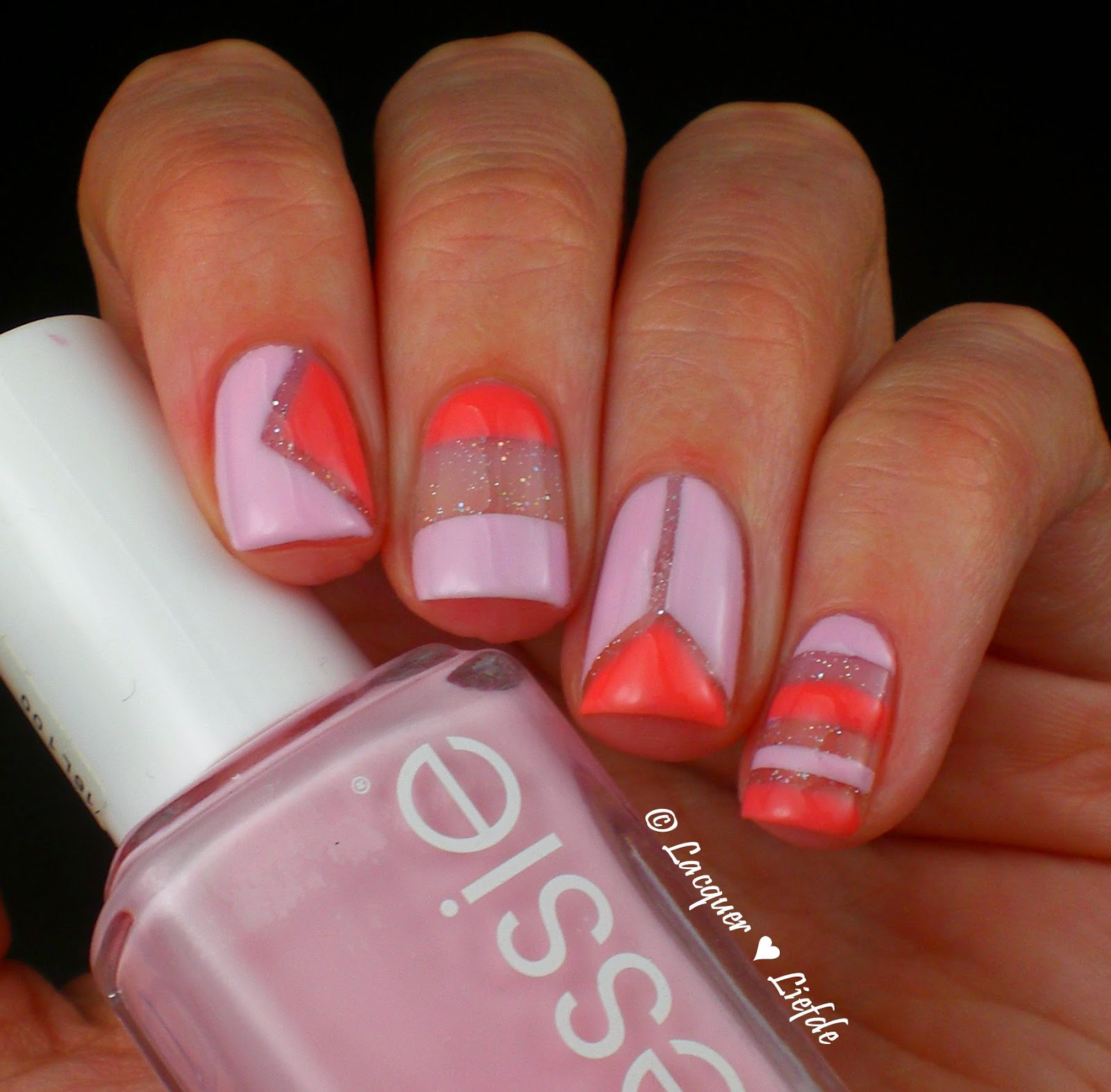 Cut Out Design with Essie Romper Room and Resort Fling and Catrice Ultra Stay & Gel Shine