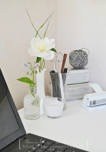 white peony, wild onion, potato flowers, flowers on desk, desk flowers