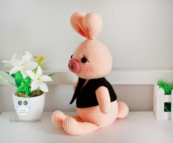 Pig Rabbit Amigurumi Patron : Cute Crochet Pig Rabbit Doll, Amigurumi Rabbit Doll ...