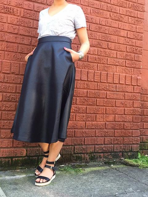 ootd, black midi skirt, sunglasses, spring, portland blogger, fashion blogger, pdx blogger, madewell, gray v neck shirt, topshop sandals