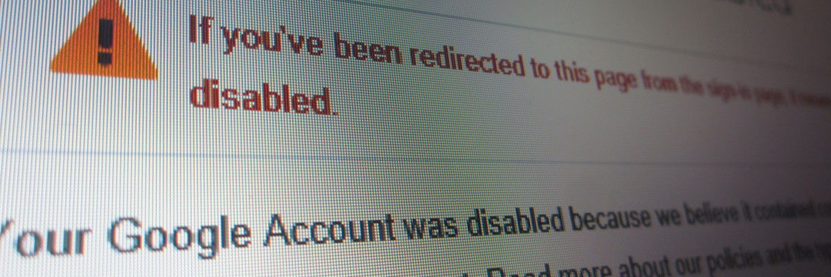 google account was disabled