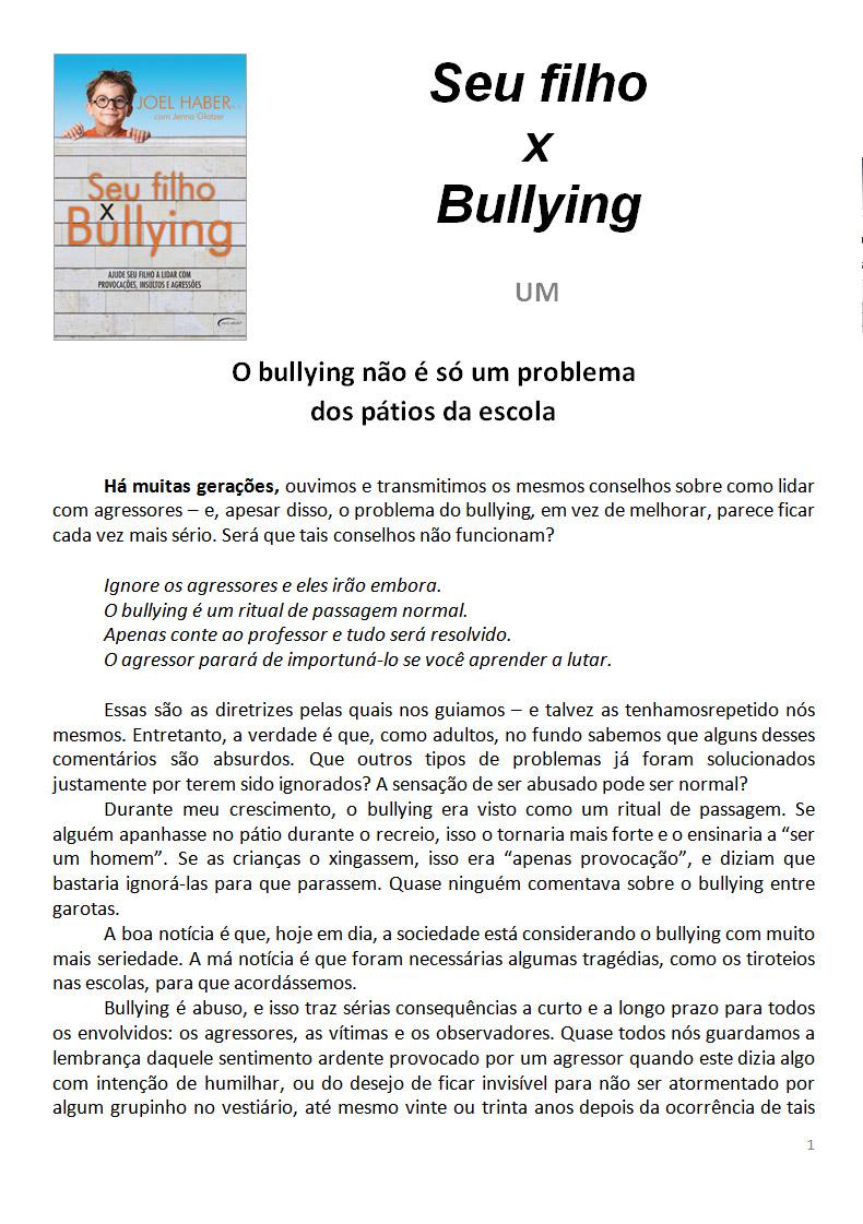 Muito O Primeiro Capítulo & Outros Textos: Seu filho x Bullying  TF18