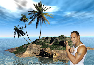Desktop Wallpapers of Dwayne Johnson The Rock Shows Biceps Tattoo 3D Island Desktop wallpaper