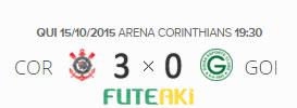 O placar de Corinthians 3x0 Goiás pela 30ª rodada do Brasileirão 2015