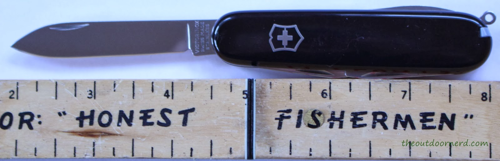Victorinox Swiss Army Tinker Pocket Knife - Closeup Next To Ruler
