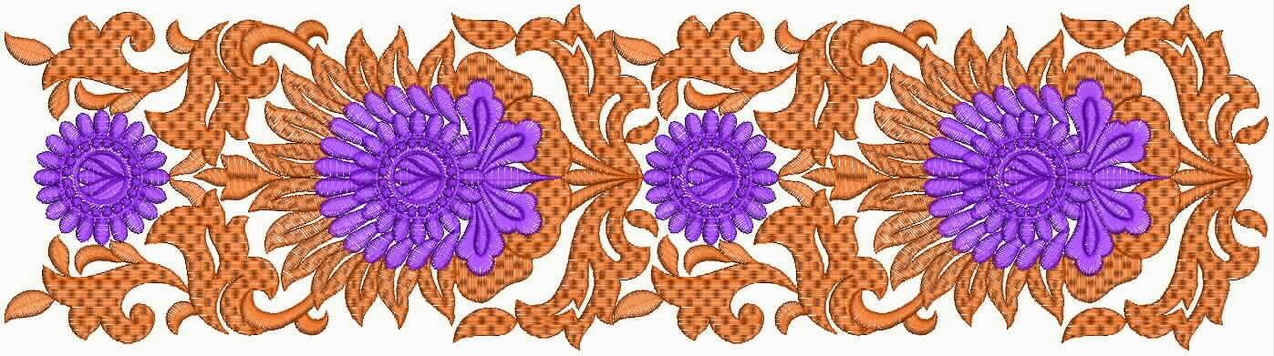 Unique Border Design Lace Border Design on Silk