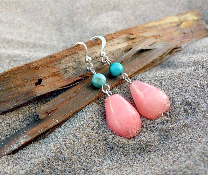 pink and silver diy earrings