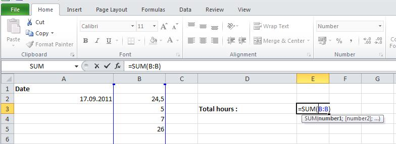 how to add up a column in excel