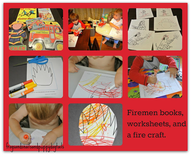 Firefighter Books and Easy Fire Craft/Coloring sheets...