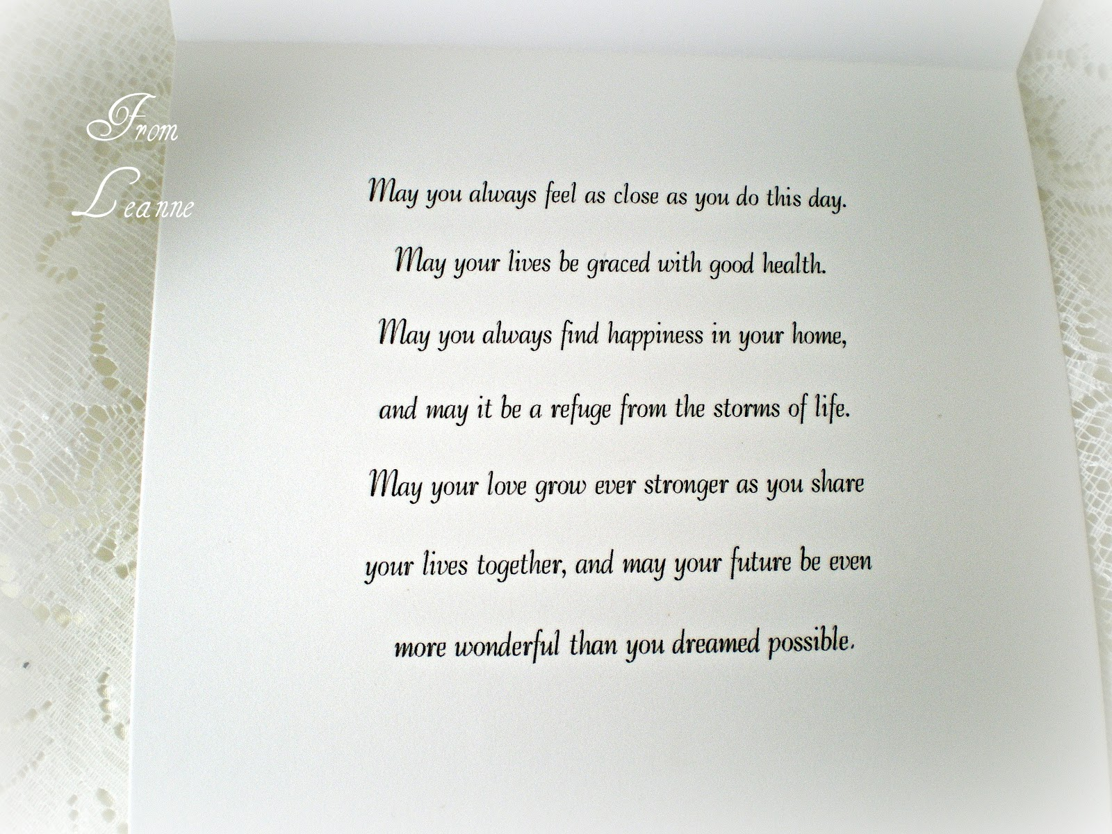 Wedding Wishes Card Weddings Style