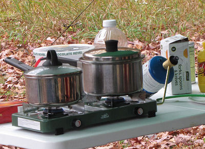 pans on camp stove