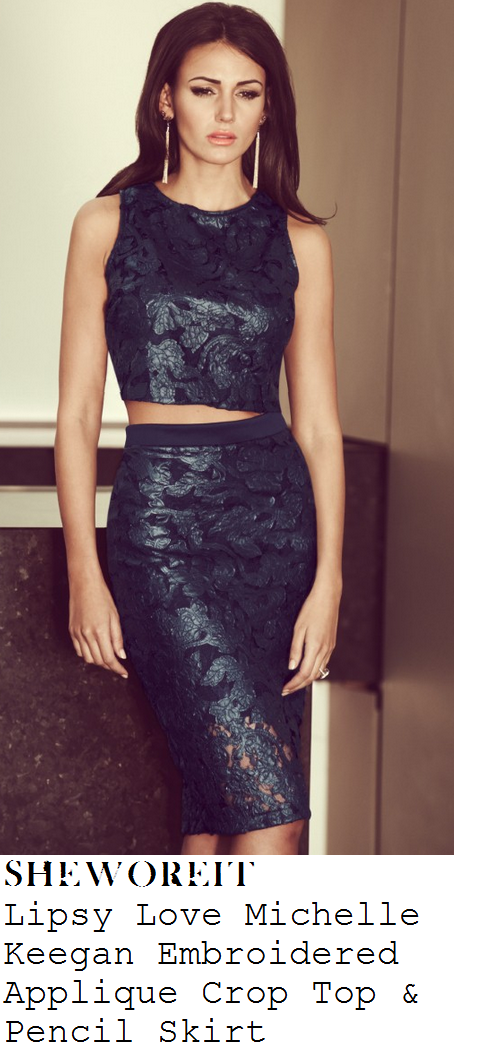 georgia-may-foote-navy-blue-floral-lace-sleeveless-crop-top-and-pencil-skirt-rosso