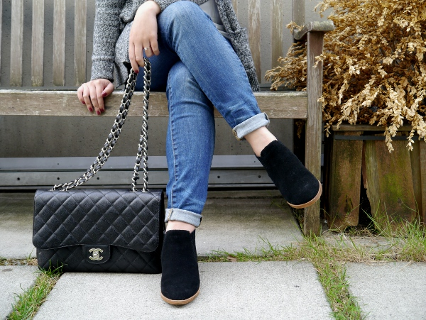Madewell denim, suede ankle boots and Chanel