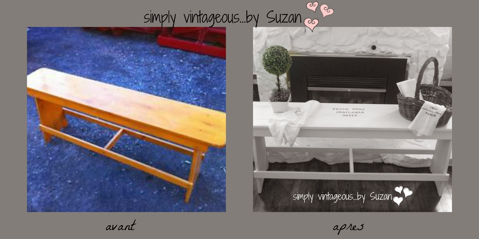 White shabby country bench makeover