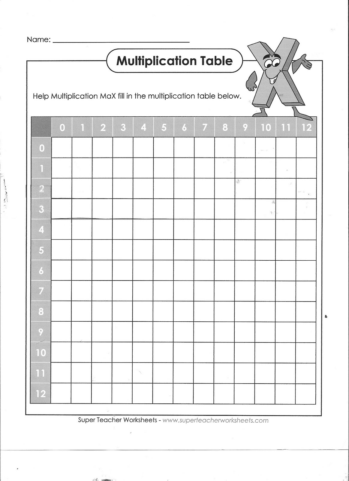 Blank Class Schedule Grid Multiplication grid