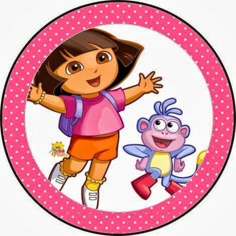 Dora the Explorer Free Printable Toppers, labels, stickers or bottle caps.