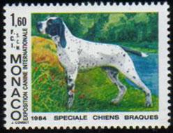 1984年モナコ公国 アリエージュ・ポインター(ブラク・ダリエージュ)の切手