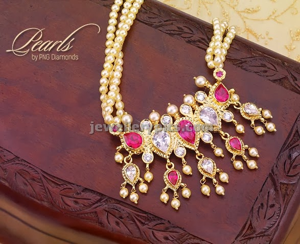 tanmani in pink pearl jewellery traditional maharashtrian design
