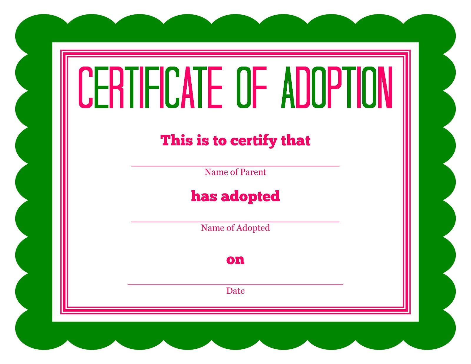 Adoption Certificate For Cake Ideas and Designs