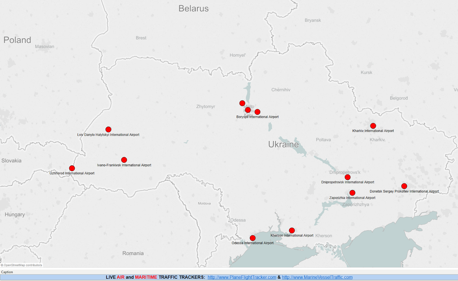 UKRAINE AIRPORTS MAP